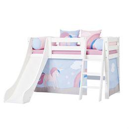 Image of   Hoppekids halvhøj seng med rutsjebane - Premium - Hvid med Unicorn