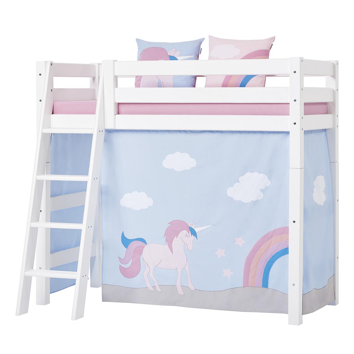 Hoppekids mellemhøj juniorseng - Premium - Hvid med Unicorn
