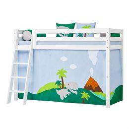 Image of   Hoppekids mellemhøj seng - Premium - Hvid med Dinosaur