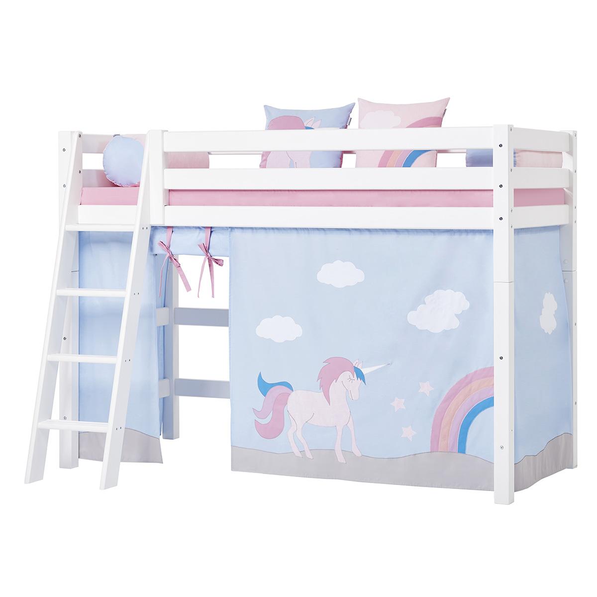 Billede af Hoppekids mellemhøj seng - Premium - Hvid med Unicorn