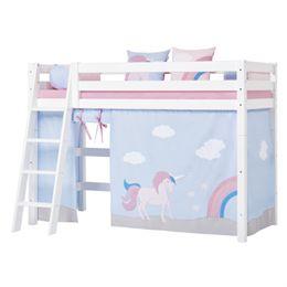Image of   Hoppekids mellemhøj seng - Premium - Hvid med Unicorn