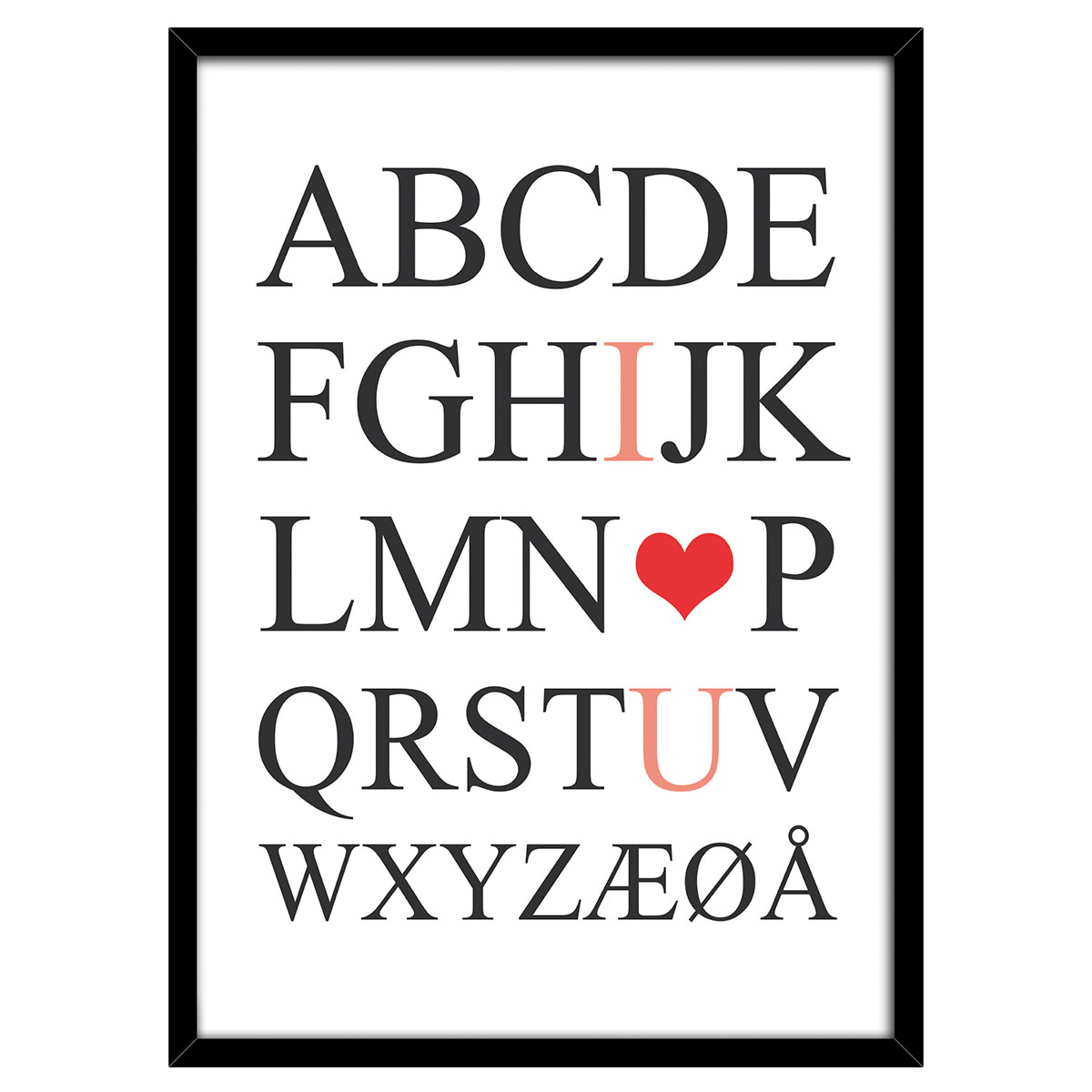 Image of   I love you plakat i ramme - Plakatdyr