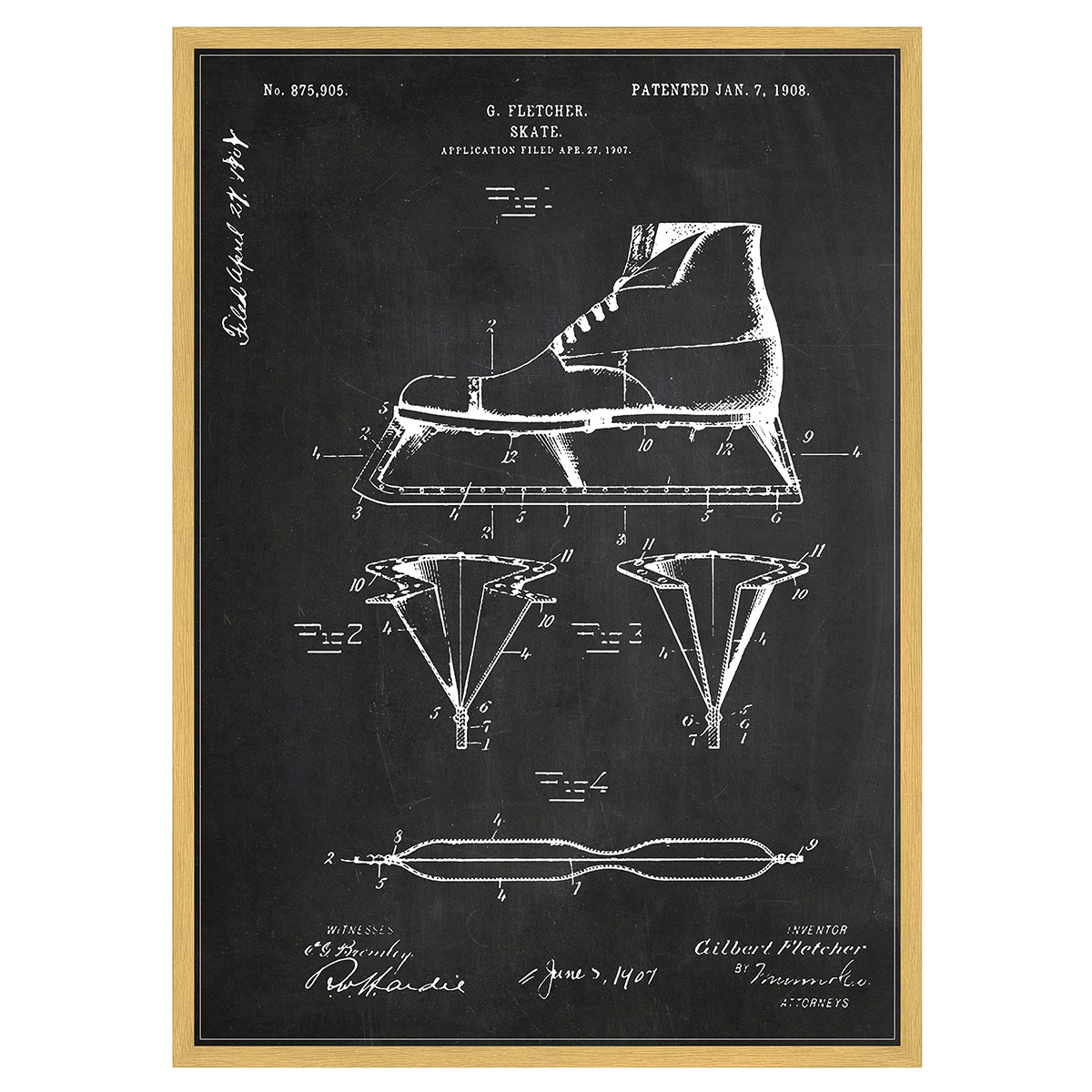 Image of   Ice Skate plakat i ramme - Patent