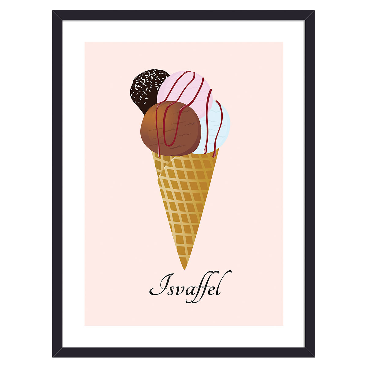 Image of   Isvaffel plakat i ramme - Plakatdyr