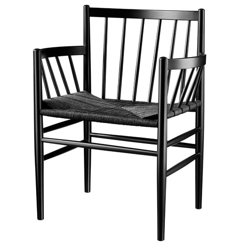 Image of   Jørgen Bækmark stol med armlæn - J81 - Sort