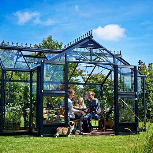 Storslåede Juliana drivhus - Orangeri - 15,2 m² Antracit/sort - Med 3 mm KW67