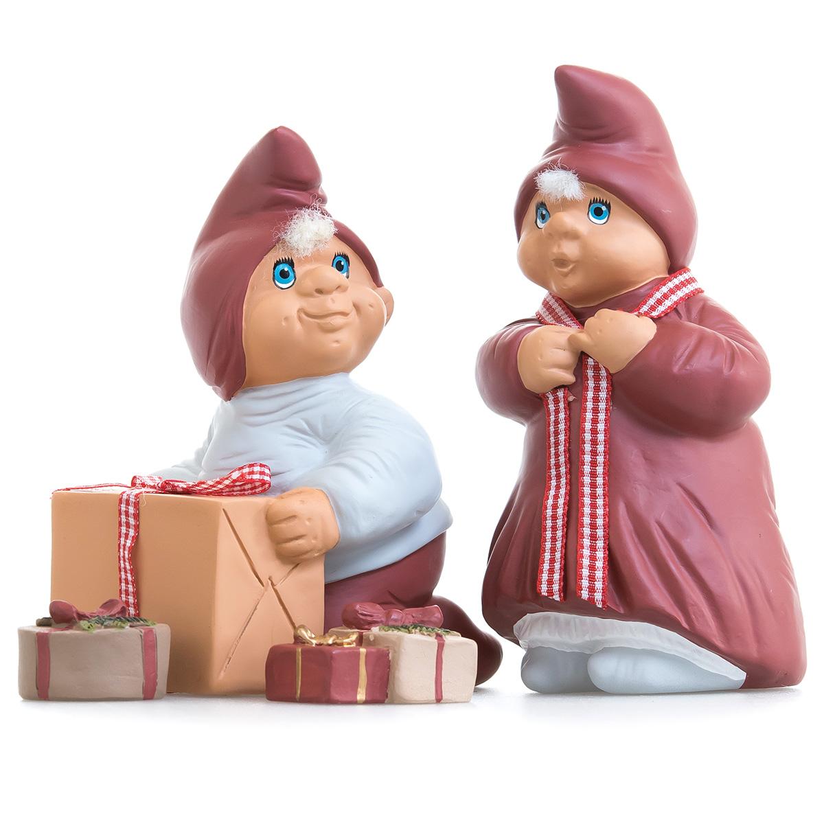 Image of   Klarborg nissefigurer - Klarborgnisser - Josefine og Oliver med gaver