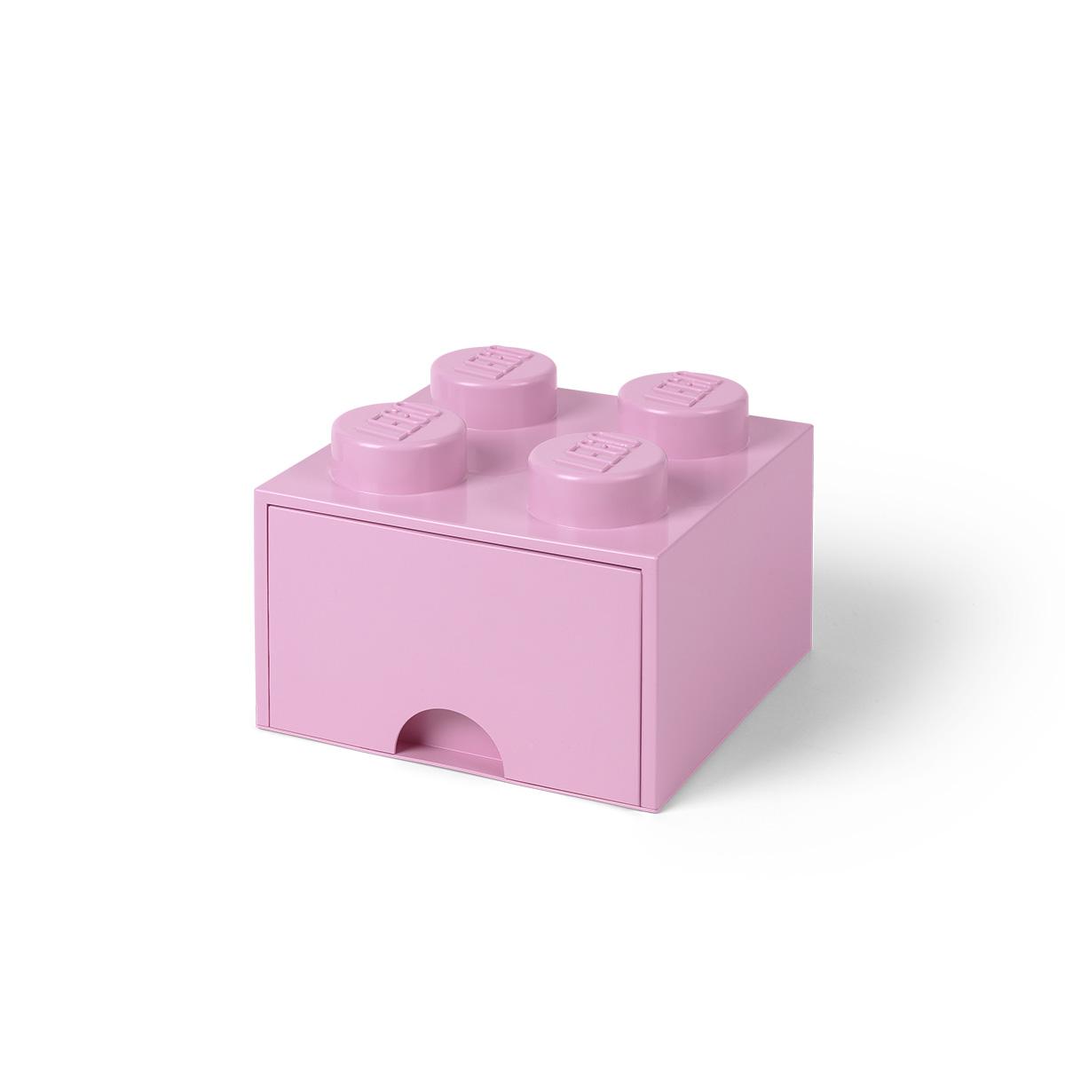 LEGO opbevaringskasse med 1 skuffe - Lyserød
