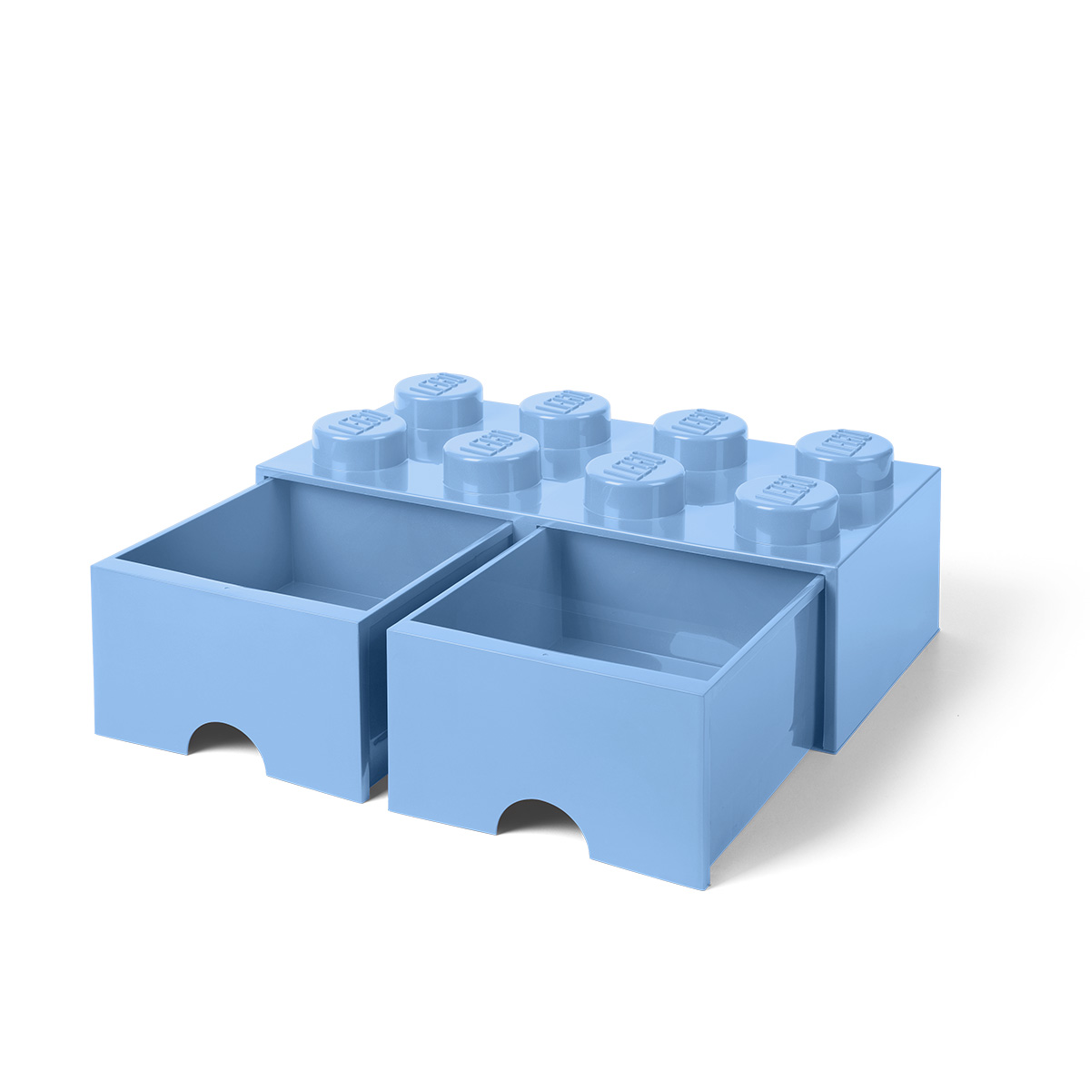 LEGO opbevaringskasse med 2 skuffer - Lyseblå