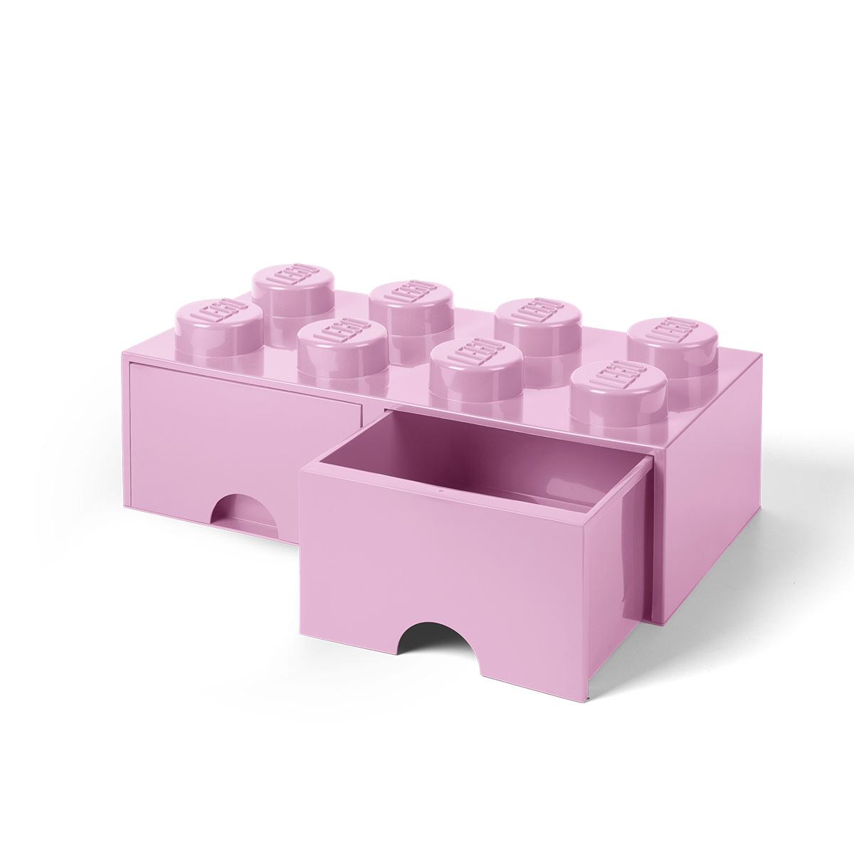 LEGO opbevaringskasse med 2 skuffer - Lyserød