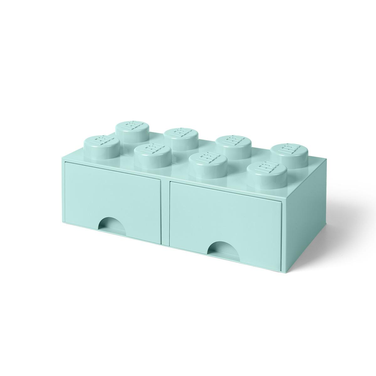 LEGO opbevaringskasse med 2 skuffer - Turkis