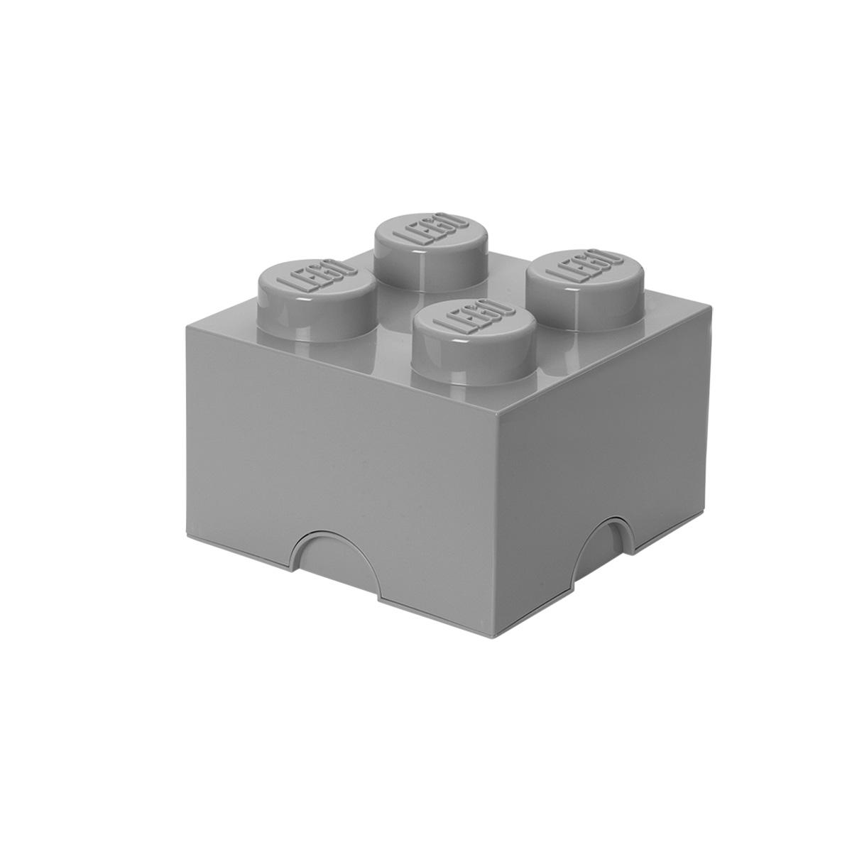 LEGO opbevaringskasse med 4 knopper - Grå