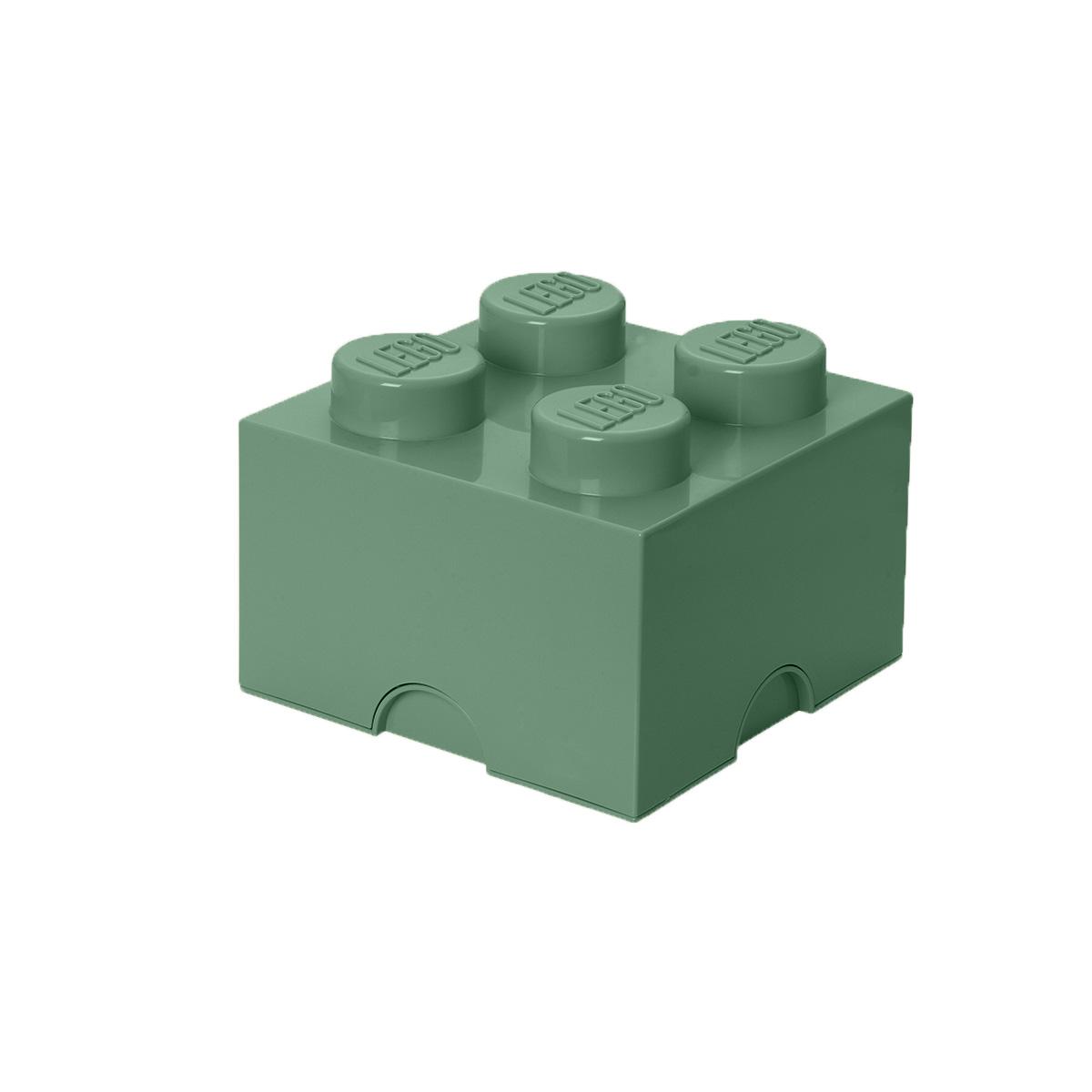 LEGO opbevaringskasse med 4 knopper - Grøn