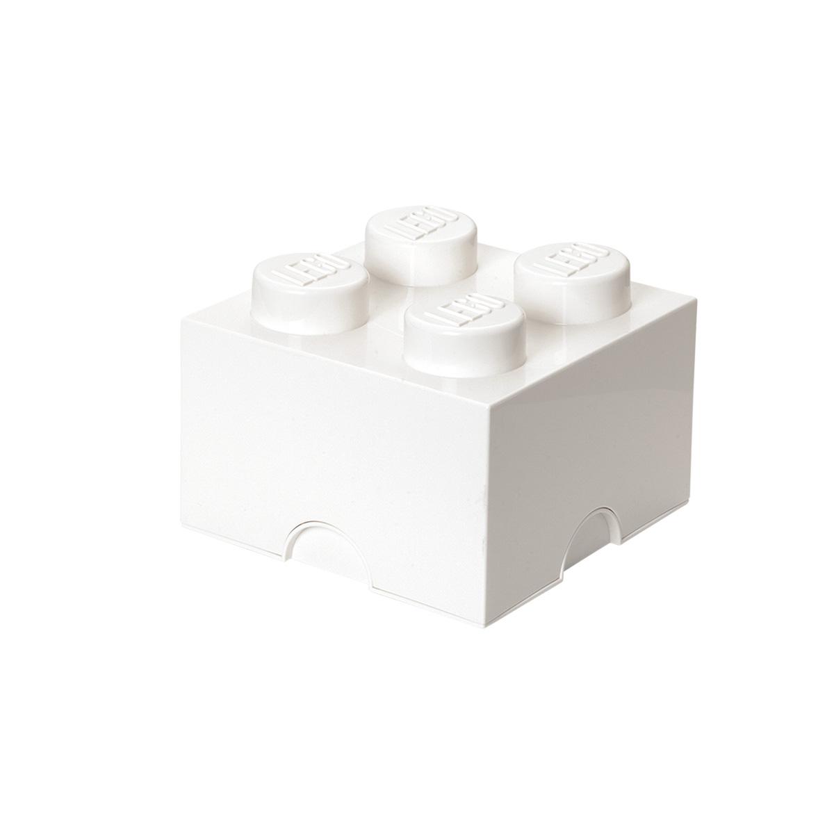 LEGO opbevaringskasse med 4 knopper - Hvid