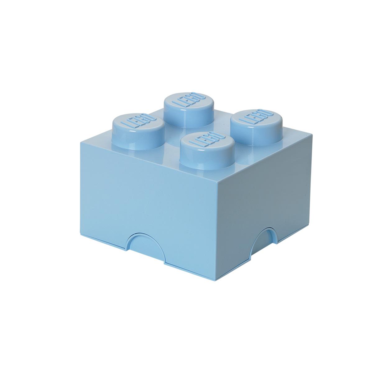 LEGO opbevaringskasse med 4 knopper - Lyseblå