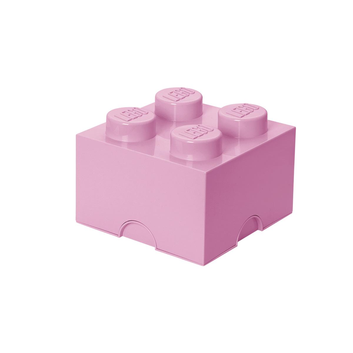 LEGO opbevaringskasse med 4 knopper - Lyserød