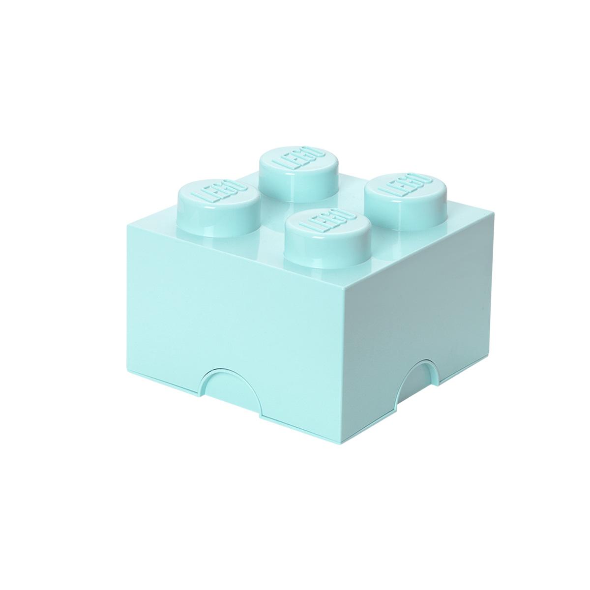 LEGO opbevaringskasse med 4 knopper - Turkis