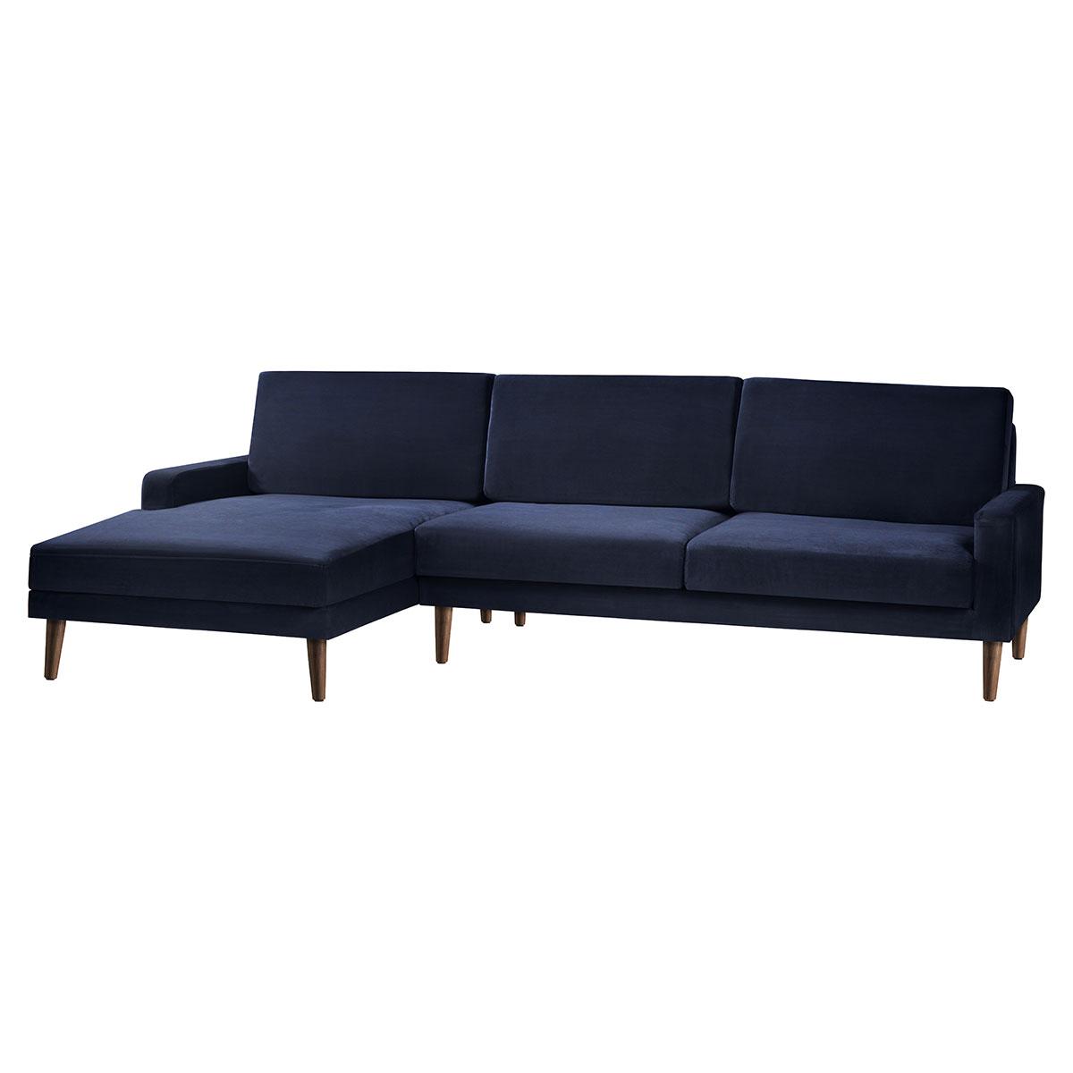 Living&more 3 pers. sofa med chaiselong - Viktoria - Mørkeblå
