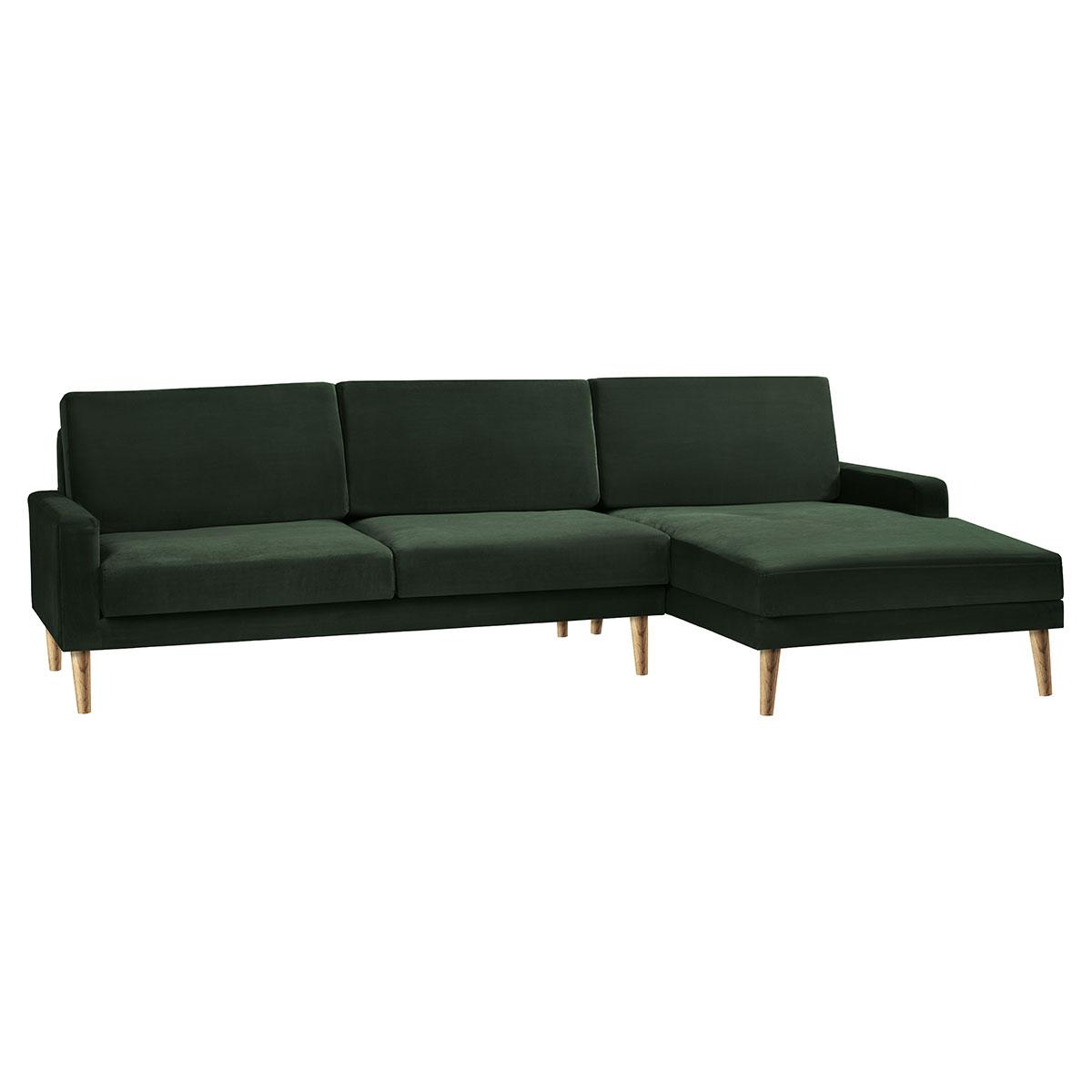 Living&more 3 pers. sofa med chaiselong - Viktoria - Mørkegrøn