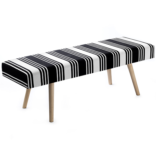 Image of   Living&more bænk med betræk - Cosy Stripes - Sort/hvid