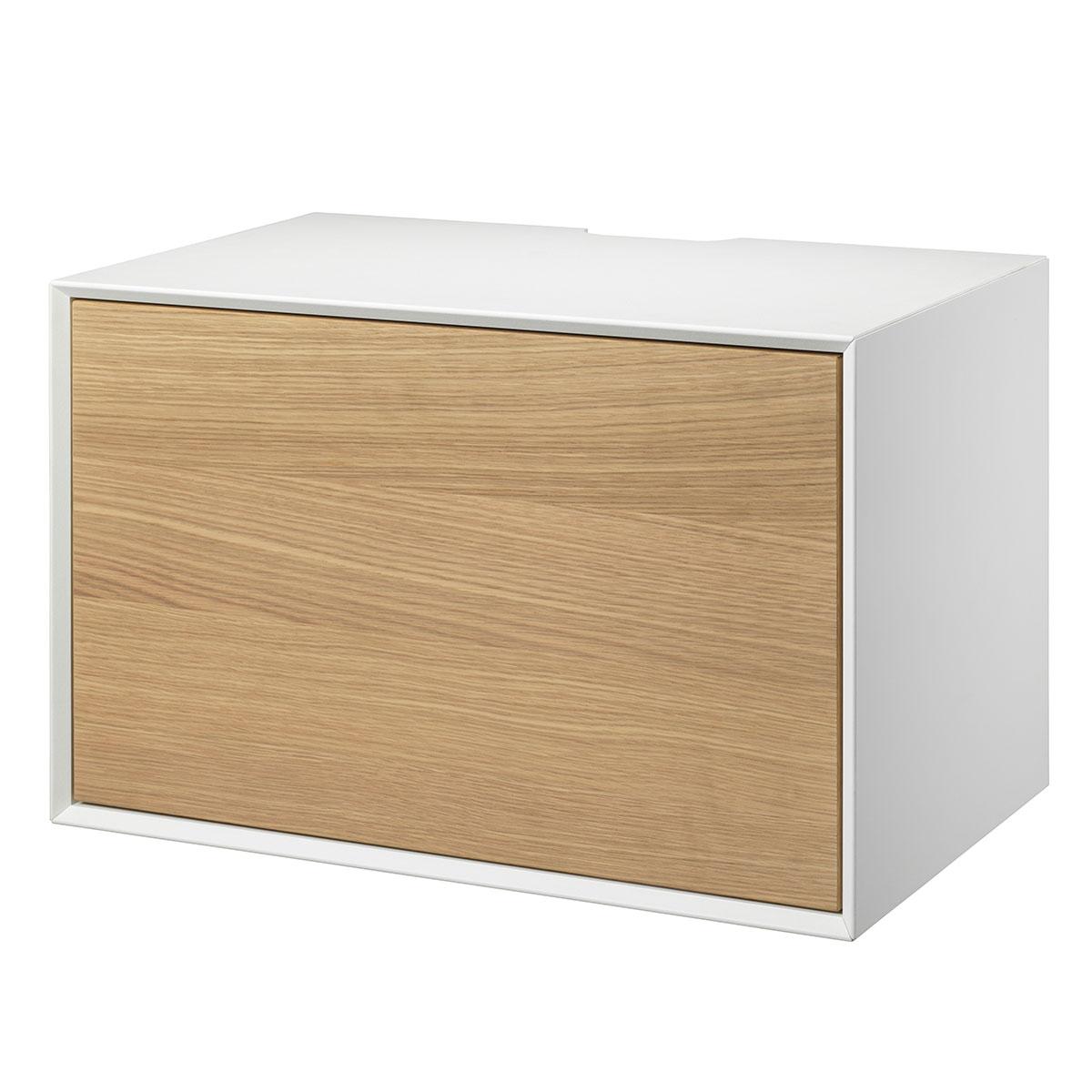 Image of   Living&more hi-fi skab - The Box - 37 x 58 x 34 cm - Hvid/eg