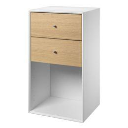 Image of   Living&more reol med skuffer - The Box - 71,2 x 39,4 x 34 - Hvid/eg