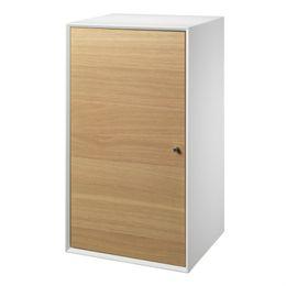Living&more skab - The Box - 71,2 x 39,4 x 34 cm - Hvid/eg