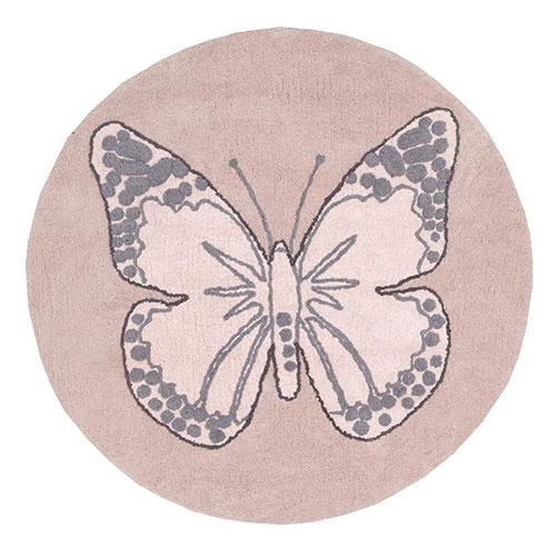 Lorena Canals gulvtæppe - Sommerfugl - Vintage rosa