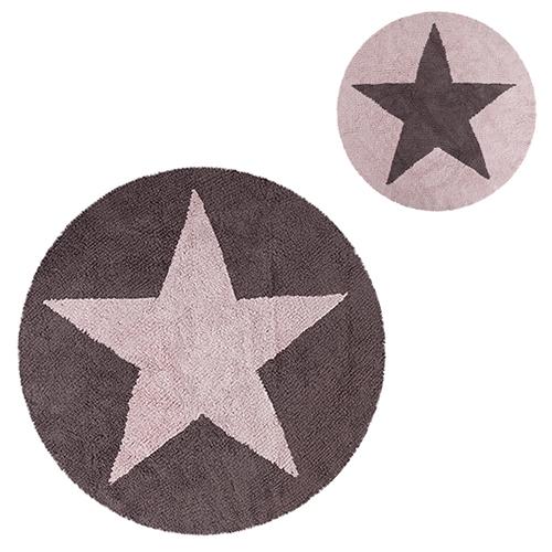 Lorena Canals gulvtæppe - Stjerne - Mørkegrå/lyserød