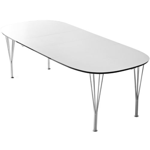 Lotus elipse spisebord - 102 x 152 cm Krom ben og hvid bordplade ...