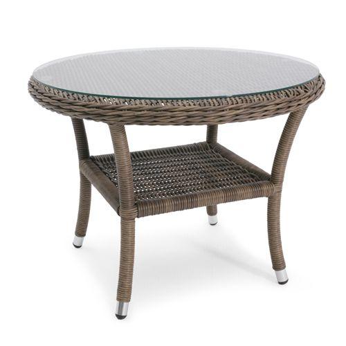 Loungesæt med 2 lænestole og rundt bord polyrattan   brunmeleret ...