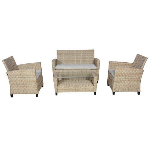Loungesæt med 2 pers. sofa, 2 lænestole og bord   elna naturfarvet ...