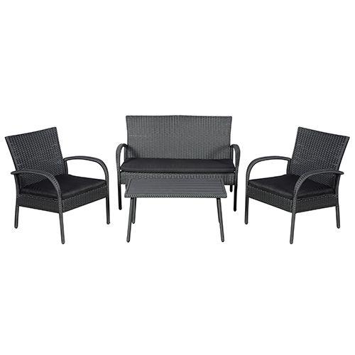 Loungesæt med 2 pers. sofa, 2 stole og bord   ebba sort polyrattan ...