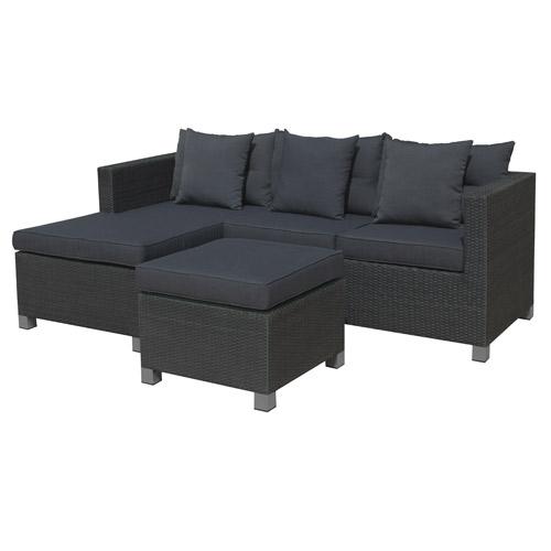 Loungesæt med sofa, chaiselong og puf - Nina Sort polyrattan og sort/grå hynder - Coop.dk