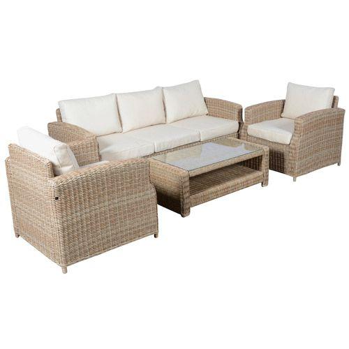 Loungesæt med sofa, 2 lænestole og bord   vila naturfarvet ...