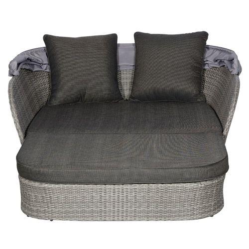 Loungesæt med sofa og stor puf polyrattan   gråbrun   coop.dk