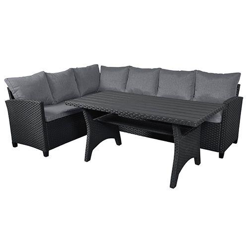 Wonderful Loungesæt - Nanna - Sort Hjørnesofa og spisebord i polyrattan EI-49