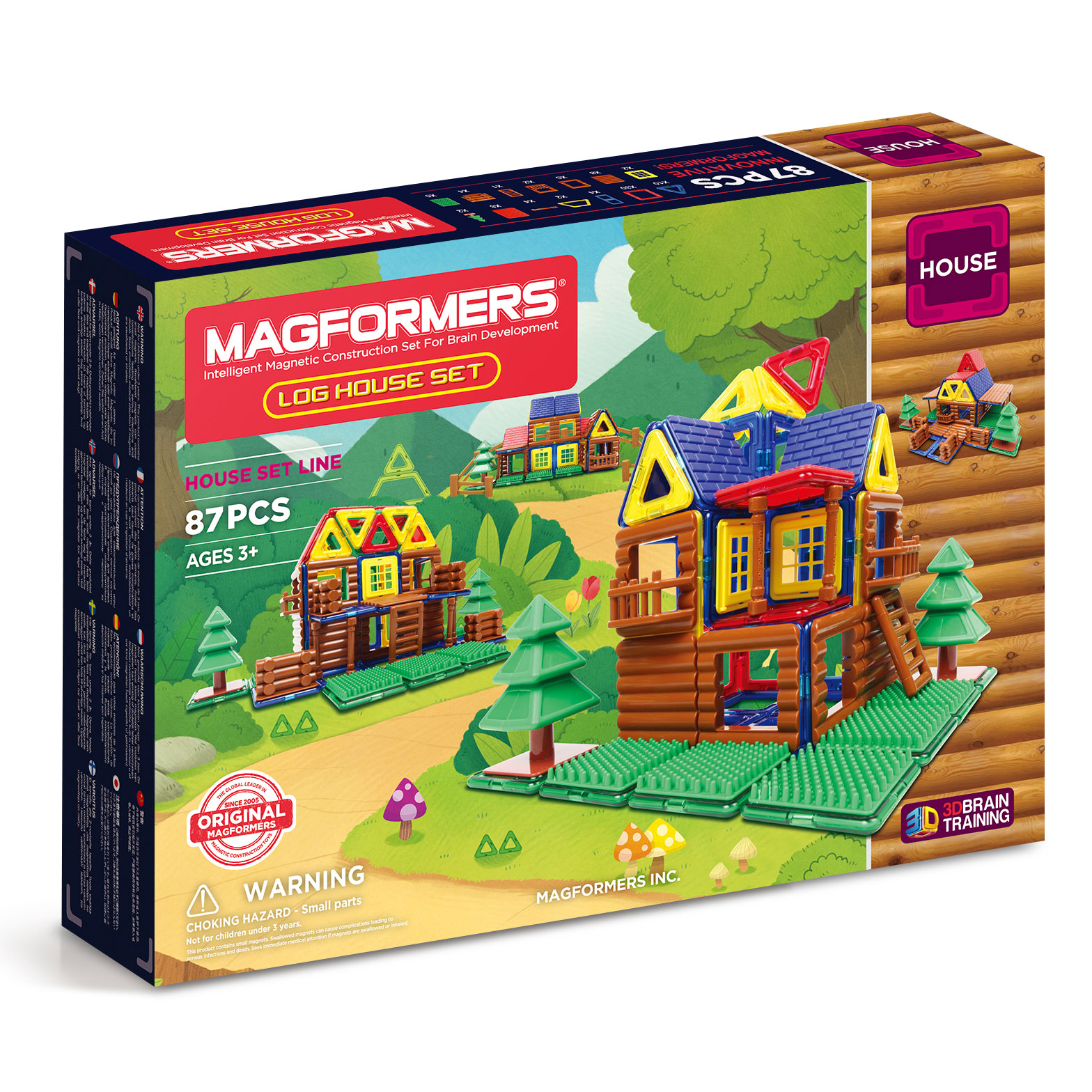 Image of   Magformers byggesæt - Log House Set - 87 dele