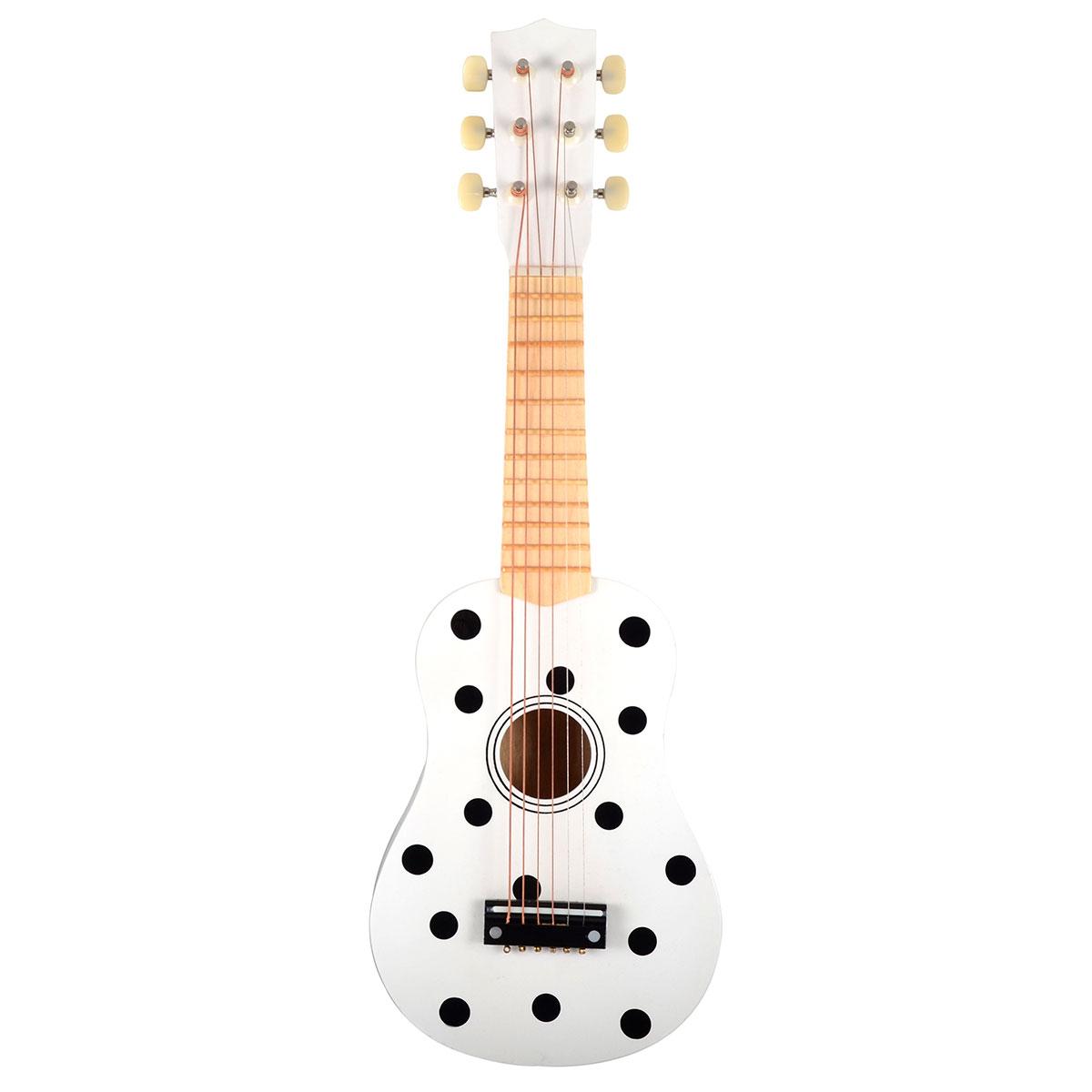 Magni guitar med 6 strenge - Hvid med prikker