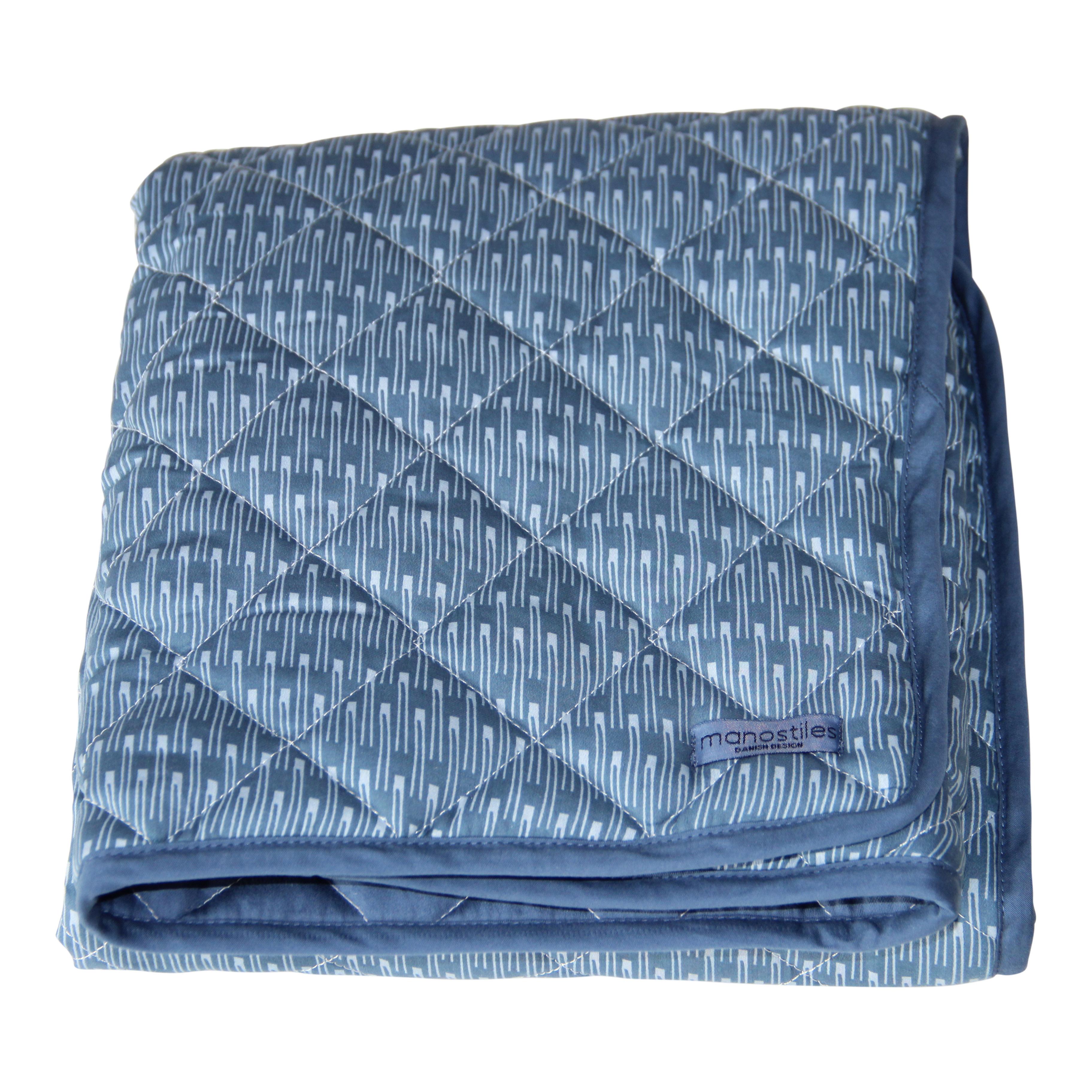 Image of   Manostiles quiltet tæppe - Oyster blue