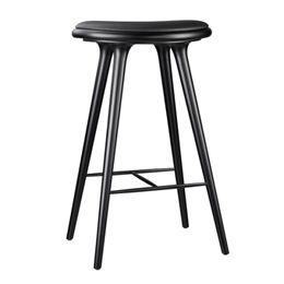 Mater barstol - Sortbejdset bøg/sort læder