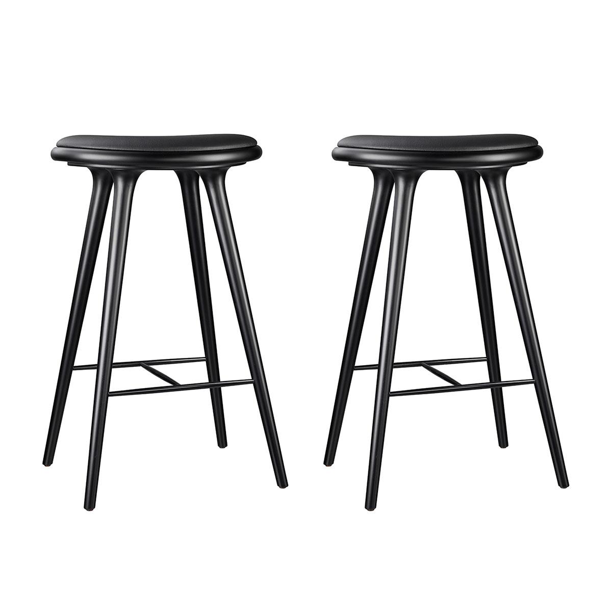 Image of   Mater barstole - Sortbejdset bøg/sort læder - 2 . stk