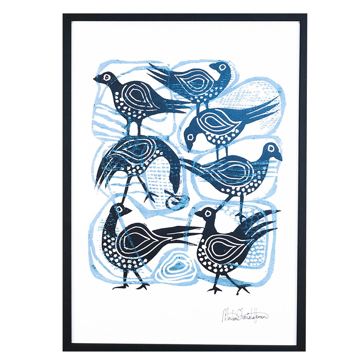 Image of   Morten Christoffersen plakat - Fugle med blåt mønster