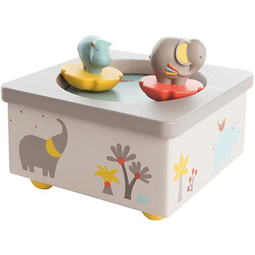 Billede af Moulin Roty spilledåse med roterende elefant og flodhest