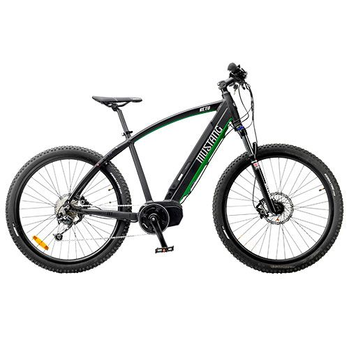 Mountainbike med el - 9 gear - Mustang Ketu - Sort Elektrisk MTB med Rock Shox-forgaffel og ...