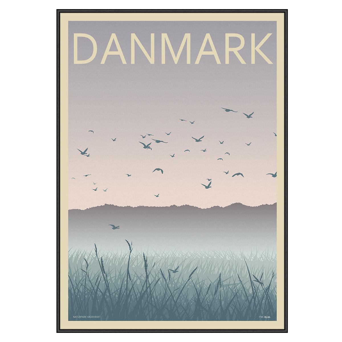 Image of   Naturpark Vadehavet plakat i ramme - Frk. Blaa