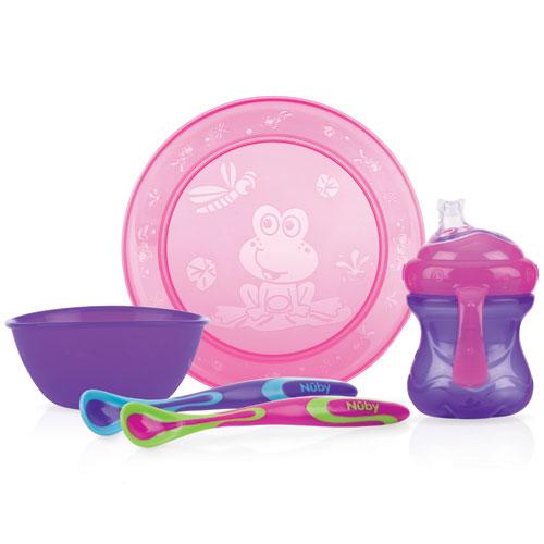 Billede af Nûby spisesæt med 4 dele - Pink/lilla