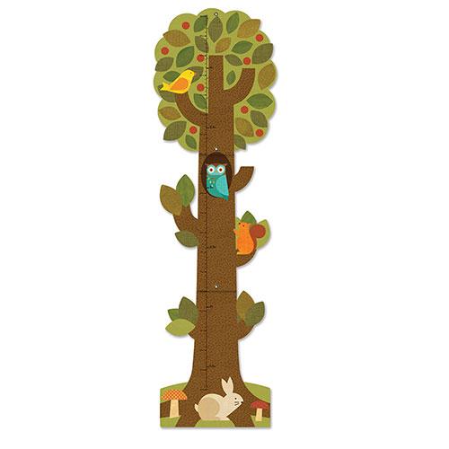 Image of   Petit Collage højdemåler - Træ med skovens dyr