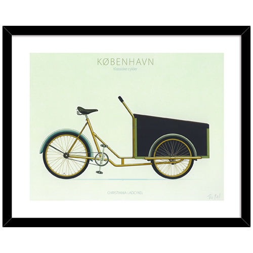 Plakat - Christiania ladcykel i sort MDF-ramme B 50 x H 40 x D 2 cm