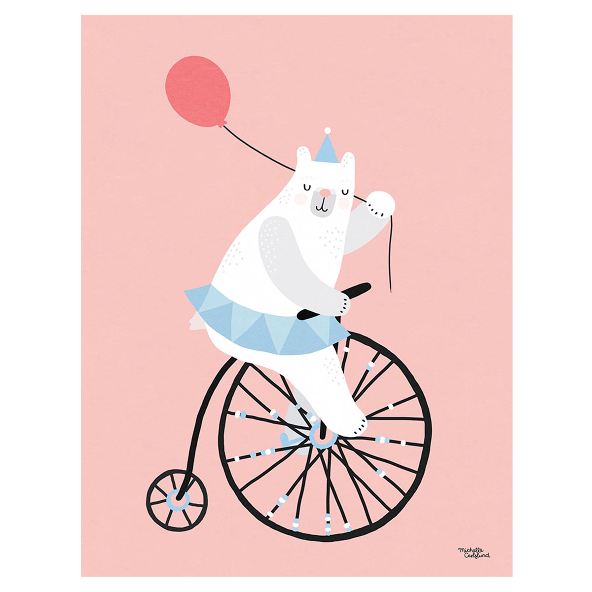 Image of   Plakat - Cycling Bear af Michelle Carlslund